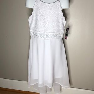 NWT Girls Ally B White Hi Lo Party Dress